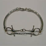 different angle of Sterling Silver snaffle bit bangle bracelet