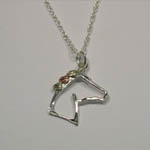 Black Hills Gold Sterling Silver silhouette horse head necklace