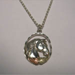 Black Hills Gold Sterling Silver horse head in oval necklace