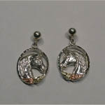 Black Hills Gold Sterling Silver horse head in oval earrings