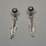 Sterling Silver small feather earrings