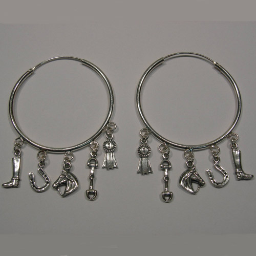 Sterling Silver large hoop and charms earrings