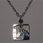 Rhodium plated horse head and horseshoes necklace