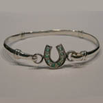Sterling Silver childs emerald horseshoe bangle bracelet