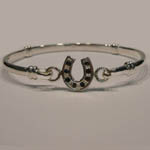 Sterling Silver childs sapphire horseshoe bangle bracelet