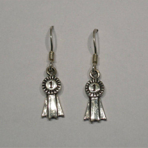 Sterling Silver First Place ribbon dangle earrings