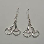 Sterling Silver Cubic Zirconia snaffle bit earrings