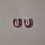 Sterling Silver ruby horseshoe post earrings
