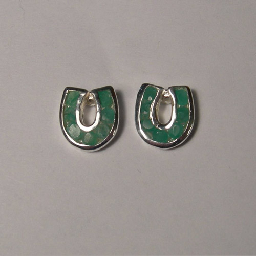 Sterling Silver emerald horseshoe post earrings