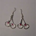 Sterling Silver Ruby snaffle bit earrings