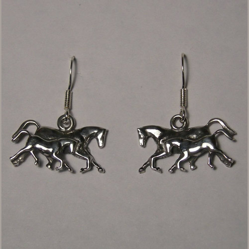 Sterling Silver galloping mare and foal earrings