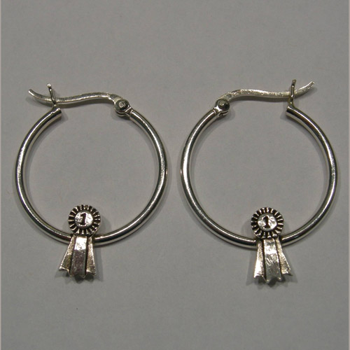 Sterling Silver first place ribbon hoop earrings