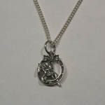 Sterling Silver hunter jumper and horseshoe necklace