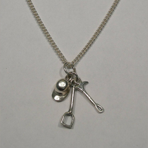 Sterling Silver cap crop stirrup charm necklace