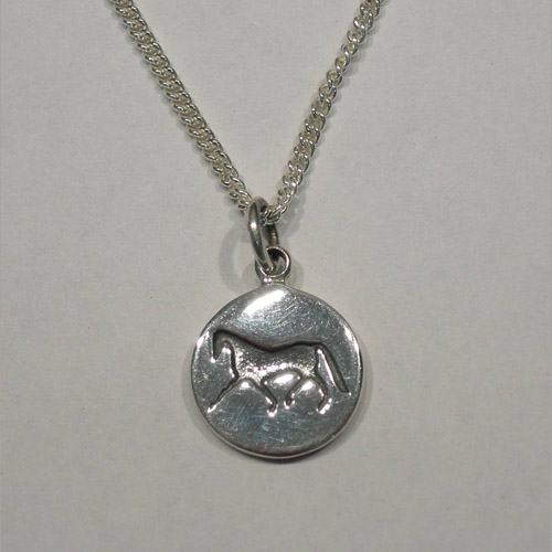 Sterling Silver horse silhouette inside disc necklace