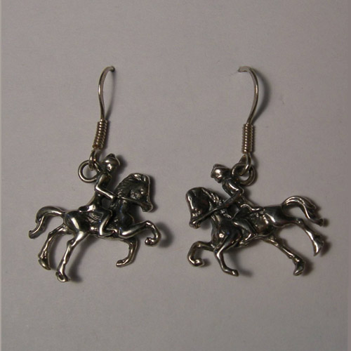 Sterling Silver horse and rider dangle earrings
