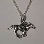 Sterling Silver racehorse and jockey necklace