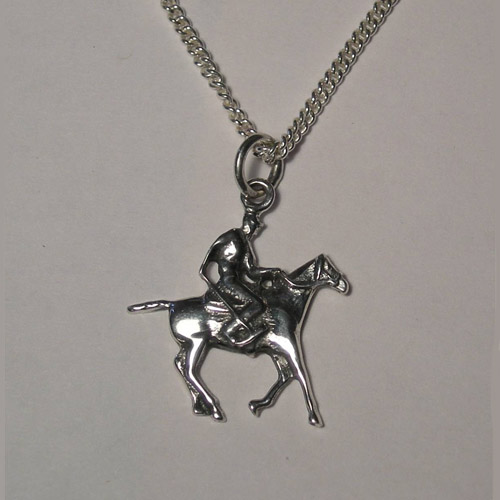 Sterling Silver Polo pony and rider necklace