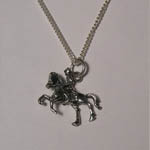 Sterling Silver horse and rider necklace