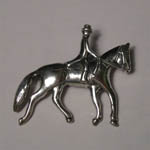 Sterling Silver Dressage horse and rider brooch