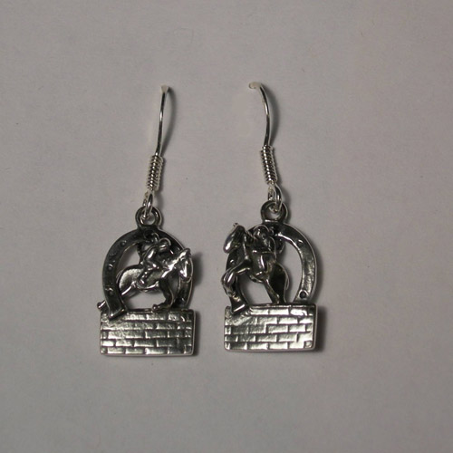 Sterling Silver hunter jumper over brick wall earrings