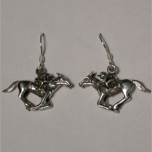 Sterling Silver racehorse and jockey earrings
