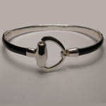 Sterling Silver enamel snaffle bit bangle bracelet