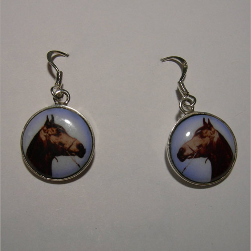 Sterling Silver enamel horse head dangle earrings