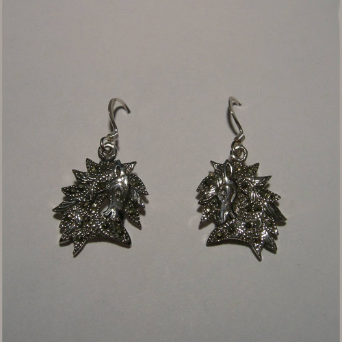 Sterling Silver horse head and Marcasite dangle earrings