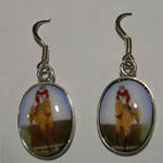 Sterling Silver hunter jumper over fence enamel earrings