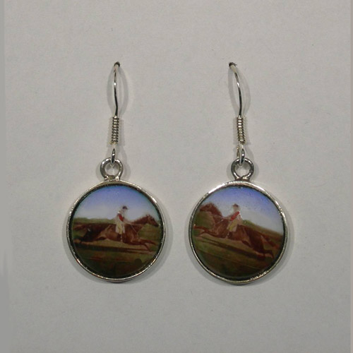 Sterling Silver galloping racehorse and jockey earrings
