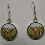 Sterling Silver standing race horse and jockey enamel earrings