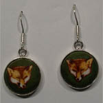 Sterling Silver fox enamel earrings