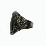 Sterling Silver unisex Black Onyx ring side view