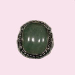 Sterling Silver unisex Aventurine Quartz ring top view