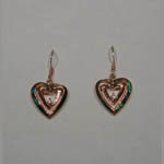 Rose gold over Sterling Silver heart shaped dangle earrings