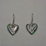 Sterling Silver heart shaped dangle earrings