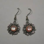 Sterling Silver pink Mother of Pearl floral earrings