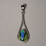 Sterling Silver Black Opal and Chalcedony pendant