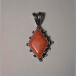 Sterling Silver navette shaped coral pendant