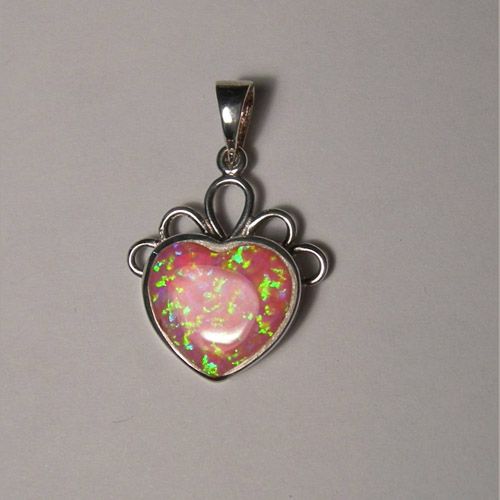 Sterling Silver heart shaped pink Opal pendant