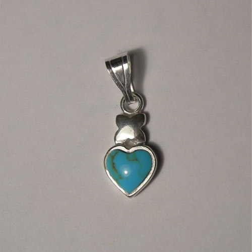 Sterling Silver heart shaped Turquoise pendant