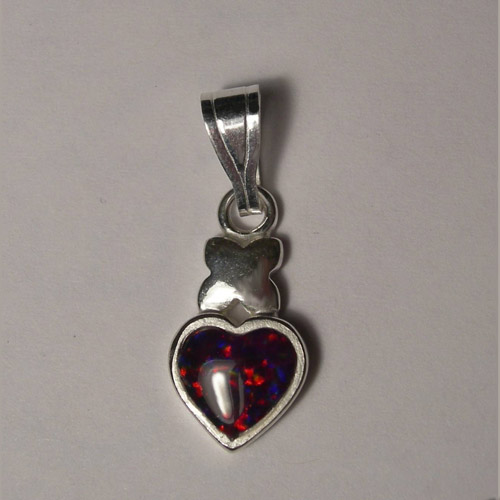 Sterling Silver heart shaped cherry opal pendant
