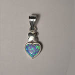 Sterling Silver heart shaped black opal pendant