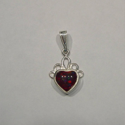 Sterling Silver small heart shaped cherry opal pendant