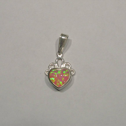 Sterling Silver small heart shaped pink opal pendant