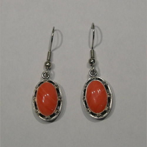 Sterling Silver coral dangle earrings