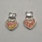 Sterling Silver Pink Opal heart shaped post earrings
