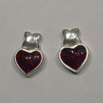 Sterling Silver cherry Opal heart shaped post earrings