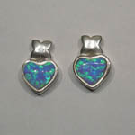 Sterling Silver black Opal heart shaped post earrings